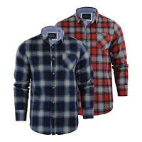 Brave Soul Garfield Mens Check Shirt Flannel Brushed Cotton Long Sleeve Casual