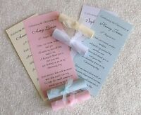 Personalised Christening Thank You Scrolls Cards Baptism Communion Invitations