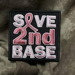 Save 2nd Base Cancer Pink Ribbon Patch