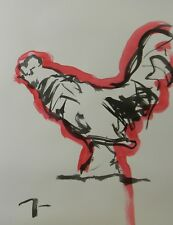 JOSE TRUJILLO - MODERN ABSTRACT EXPRESSIONIST INK WASH RED ROOSTER MINIMALISM