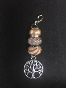 European Bead Bag Purse Zipper pull Keyring Gift With Tree Of Life Charm