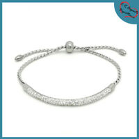 bracciale braccialetto da donna in acciaio a catena con zirconi strass inox per