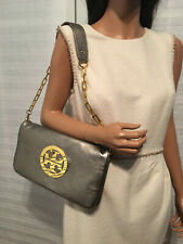 Authentic Tory Burch Bombe Reva Leather Convertible Flap Clutch Shoulder Bag