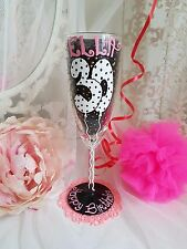 Personalised hand painted wine glass girl birthday 21st 30th 16th dad party 40th