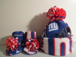 GIANTS HANDMADE newborn BABY HAT BEANIE  & BOOTIES FLEECE SET NFL NEW YORK NY