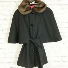 Betsey Johnson Belted Capelet Jacket Faux Fur Collar Size S/M