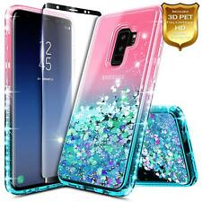 For Samsung Galaxy S9 Case Glitter Ombre Case With Screen Protector Shockproof