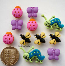 GARDEN BUGS Craft Buttons Novelty Insects Flowers Nature Caterpillars Wasps Bees