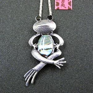 Betsey Johnson Silver Alloy Enamel Opal Frog Pendant Chain Necklace/Brooch