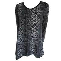 Tunic Tops Plus Size 10 12 14 16 18 20 EVERSUN Grey Black Dress Leopard Animal