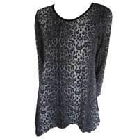 Tunic Tops Plus Size 10 12 14 16 18 20 EVERSUN Grey Black Dress Leopard Animal