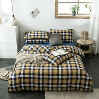 Duvet Cover Set Cotton Soft Bedding Bed Sheet Pillowcase Geometric Checkered