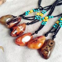 Fashion Boho Beads Madagascar Agate Pendant Necklace Crystal Stone Choker Gifts