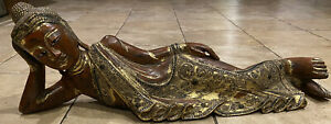 """Reclining Carved Buddha Gilded Wood Jeweled Inlays 29"""" Chinese / Thai Antique"""