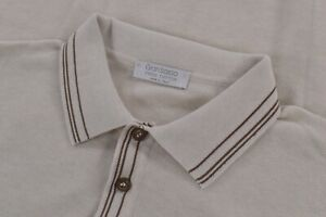 Gran Sasso NWT Knitted Polo Shirt Size 50 M in Cream with Brown Trim $295
