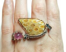 Double finger Ruby Sapphire fossil coral gemstone ring size 8 925 silver