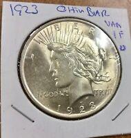 1923 P VAM 1F Chin Bar Variety Silver Peace Dollar  bright  error