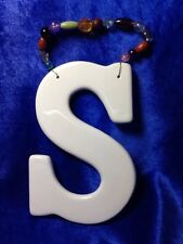 Ceramic Letter S Wall Plaque Initial Monogram New With Beaded Wire Hanger 5-1/2""
