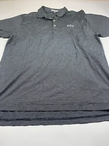 Peter Millar Men's  TCU Short Sleeve Golf Polo Shirt-Large- Gray w/Stripe