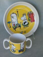Arabia Finland baby double-handled cup & plate. Yellow Moomin Role Play 2012