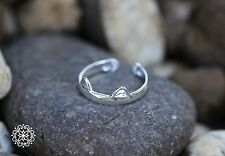 Delightful Cat Ears and Paws Adjustable Ring in Solid Sterling Silver, Open Ring