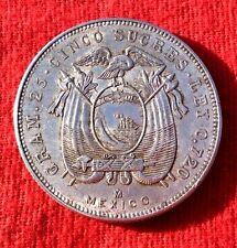 MONNAIE ANCIENNE EN ARGENT 5 SUCRES EQUATEUR 1943 M  MEXICO