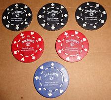 JACK DANIELS--POKER CHIPS--3 BLACK-2 RED-1 BLACK--NEW--L@@K