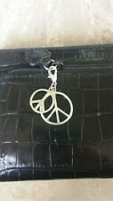 Peace sign zipper pull charm for bracelet purse pull heavy gauge jump ring