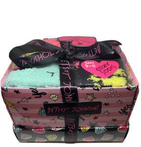 Betsey Johnson Cozy/Fuzzy Socks Gift Set 3 Pack Pink, Blue/LOVE, Black/Diamonds