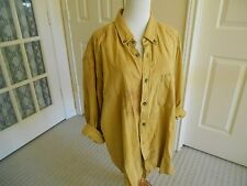 Flannel shirt tunic length mustard yellow check button down LS round hem XL
