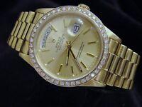 Mens Rolex Day-Date President 18k Gold Watch Champagne 1ct Diamond Bezel 18038