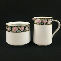 VTG Sugar Bowl NO LID Creamer Set Noritake Rima Floral Black Gold Rim 6906 Japan