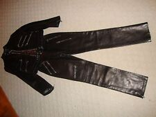 SPECTACULAR NEW & RARE $10,340 BLACK LEATHER DOLCE & GABBANA ZIPPER PANT SUIT