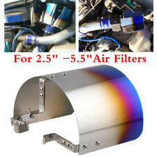 Blue Stainless Steel Air Intake Filter Heat Shield Cover For 2.5-5.5In Filter