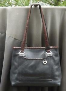 Brighton Black Brown Pebbled Leather Bag Twin Straps Outside Compartments