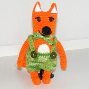 *An Orange Fox, with Green Shorts, Handmade, Cute, Different, OOAK, Crochet