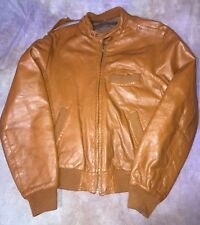 New listing Johnson leathers of San Francisco brown Leather cafe Jacket Motorcycle S vintage