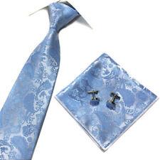 Mens Paisley Jacquard Silk Tie Set Cufflinks and Handkerchief Wedding Gift UK