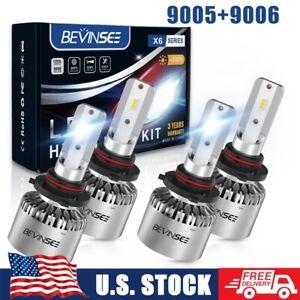 4x 9005 & 9006 For Chevy Silverado HD 2001-2006 LED Headlights Combo White Bulbs