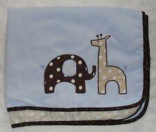Lambs & Ivy Blue Elephant Giraffe Safari Baby Blanket Jake Brown Trim Polka Dots