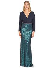 Badgley Mischka Blush Sequined Dolman Sleeve V-Neck Evening Gown NWT 10 $890