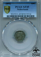 1892 Netherlands 10 Cents (10C) Silver (.640) Coin PCGS XF45 (Extra Fine) KM#116