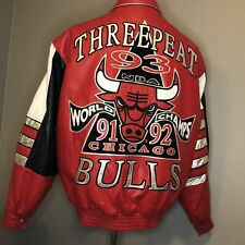 Vintage Three 3 Peat Chicago Bulls World Champs Leather Jacket Jeff Hamilton JH