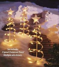 Lighted Spiral Christmas Tree Garden Stakes - Set of 3