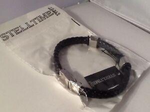 Unisex Women Men STEELTIME Bracelet Black Leather Braided S/S Embellishments New