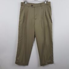Jack Nicklaus Tan/Nude/Brown Pleated Cuffed Men's Dress Pants Size 34 x 27