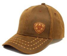 Ariat Men's Offset Logo Barbwire Oil Skin Brown Baseball Cap Hat