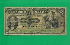 El Banco de Londres y Mexico, 5 Pesos BANKNOTE  , YEAR 1913