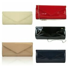 035e354344 New lady's patent evening envelope clutch bag party wedding prom red navy  black