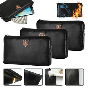 Fireproof Waterproof Document Bag File Money Safe Box Secret File Protect Pouch